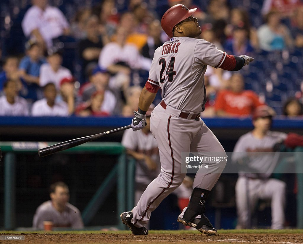 Yasmany Tomas #24 of the Arizona Diamondbacks hits a home run in the top of the eighth inning against the Philadelphia Phillies on May 16, 2015 at Citizens Bank Park in Philadelphia, Pennsylvania. The Phillies defeated the Diamondbacks 7-5