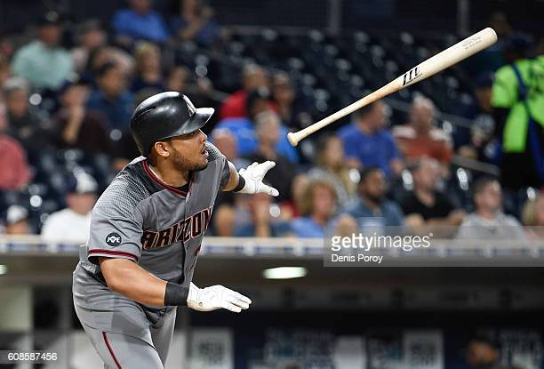 Yasmany Tomas of the Arizona Diamondbacks hits a single during the fourth inning of a baseball game against the San Diego Padres at PETCO Park on...