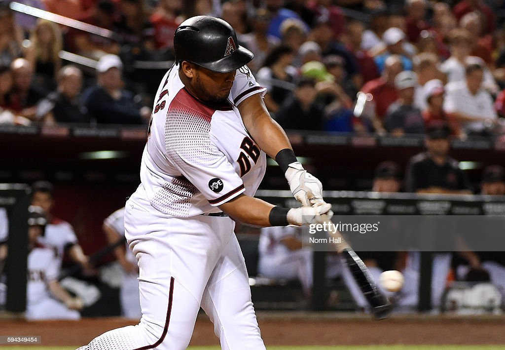 Yasmany Tomas of the Arizona Diamondbacks hits a two run home run off of Mike Foltynewicz of the Atlanta Braves during the third inning at Chase...