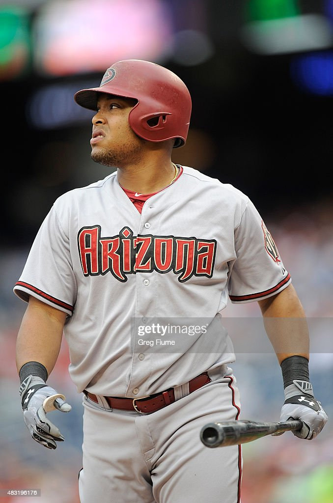 Yasmany Tomas #24 of the Arizona Diamondbacks reacts after striking out in the second inning against the Washington Nationals at Nationals Park on August 6, 2015 in Washington, DC.