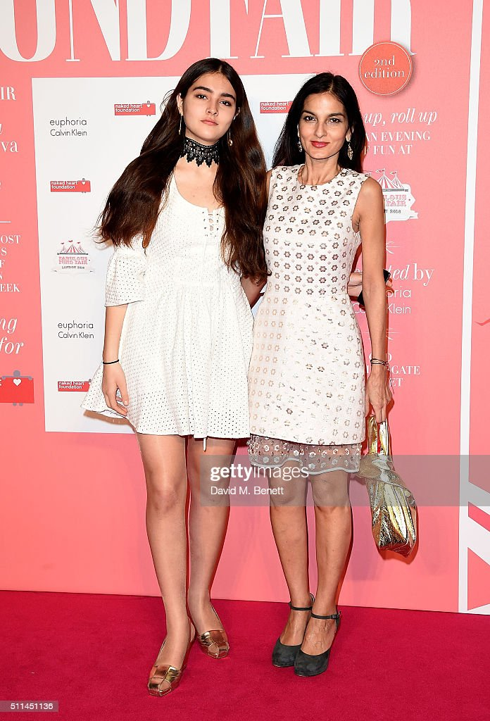 Yasmin and Maddie Mills at The Naked Heart Foundation's Fabulous Fund Fair in London at Old Billingsgate Market on February 20 2016 in London England