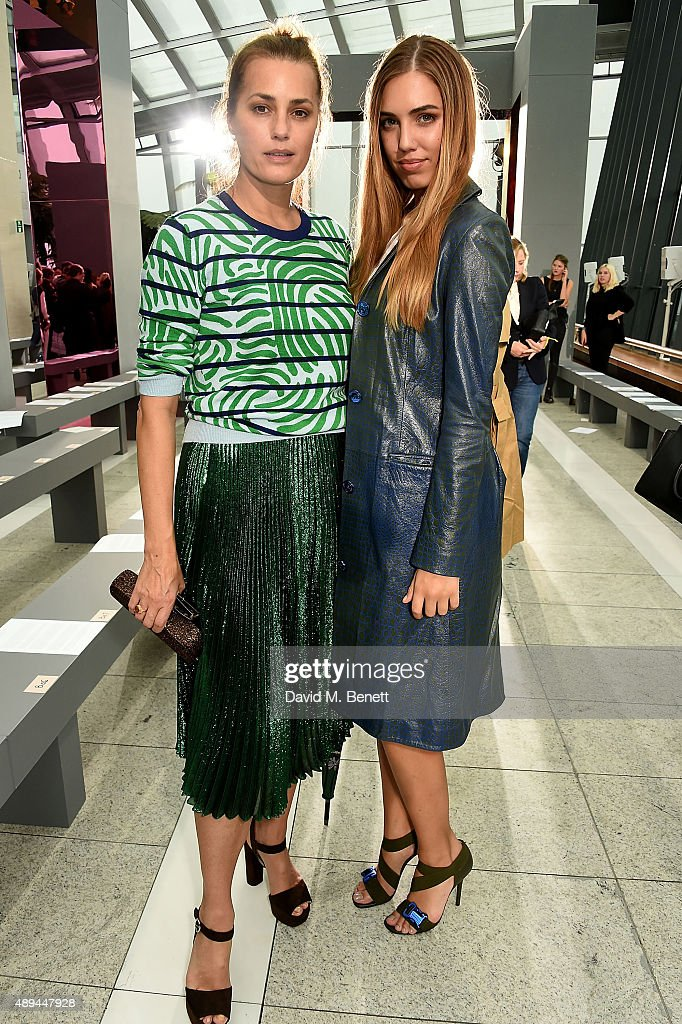 Yasmin Le Bon and Amber Le Bon attend the Christopher Kane show during London Fashion Week SS16 at Sky Garden on September 21 2015 in London England