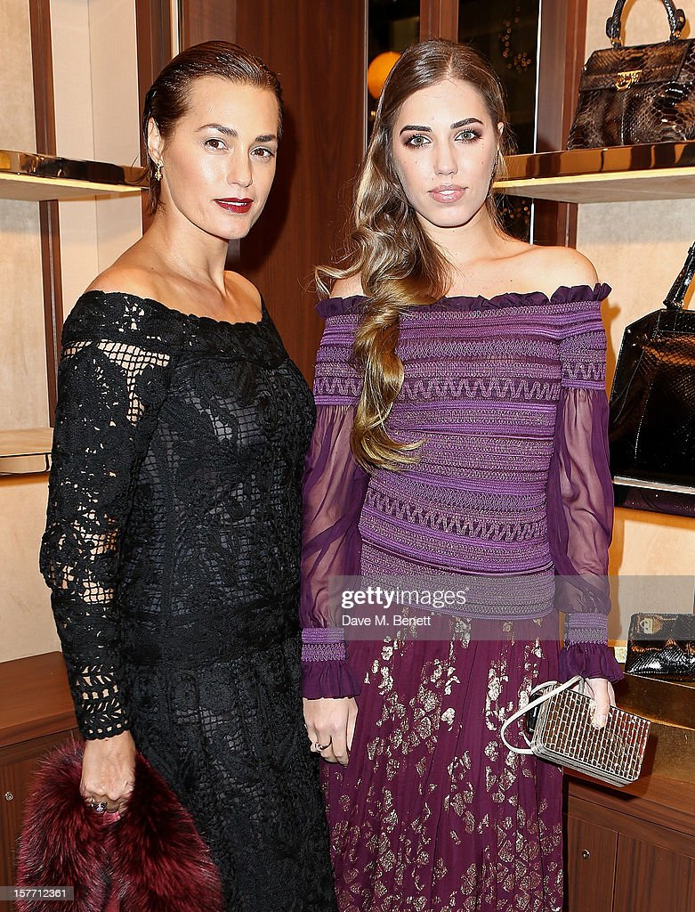 Yasmin Le Bon (L) and Amber Le Bon attend the launch of the Salvatore Ferragamo London Flagship Store on Old Bond Street on December 5, 2012 in London, England.