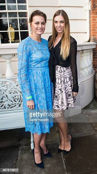 Yasmin Le Bon and Amber Le Bon pose at the launch of 'Travels to my Elephant' Rickshaw Race at Clarence House on March 26 2015 in London England