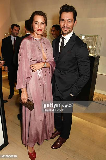 Yasmin Le Bon and David Gandy attend the cocktail opening of the Chopard exhibition 'LUC L'art d'une Manufacture' at Phillips Gallery on October 11...