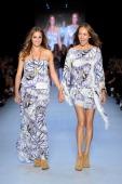 Yasmin Le Bon and designer Gail Elliott appear on the catwalk following the Little Joe Woman show during Rosemount Australian Fashion Week...