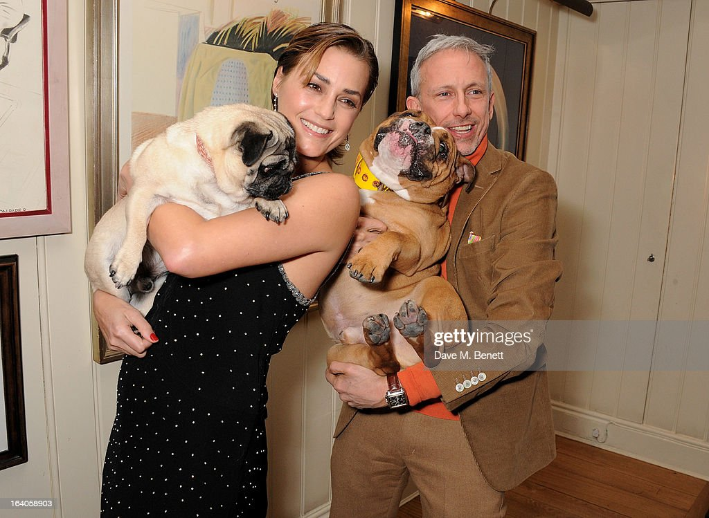 Yasmin Le Bon (L) and Patrick Cox attend Dine for Dogs Trust, launching a dog friendly menu at The George Club on March 19, 2013 in London, England.