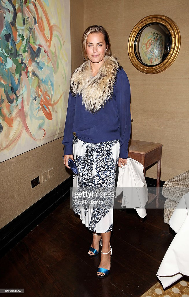 <a gi-track='captionPersonalityLinkClicked' href=/galleries/search?phrase=Yasmin+Le+Bon&family=editorial&specificpeople=161272 ng-click='$event.stopPropagation()'>Yasmin Le Bon</a> attends a cocktail party hosted by new Editor-in-Chief of Harper's Bazaar UK Justine Picardie, Manolo Blahnik and Penelope Tree to celebrate the life of noted columnist and fashion editor Diana Vreeland, following the UK premiere of Diana Vreeland: The Eye Has To Travel, at The Connaught Hotel on September 19, 2012 in London, England.
