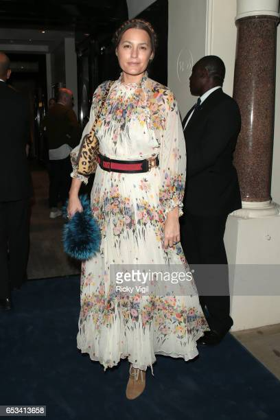 Yasmin Le Bon attends Tania Fares and Sarah Mower London Uprising Fifty Fashion Designers One City book launch party at Sotheby'son March 14 2017 in...