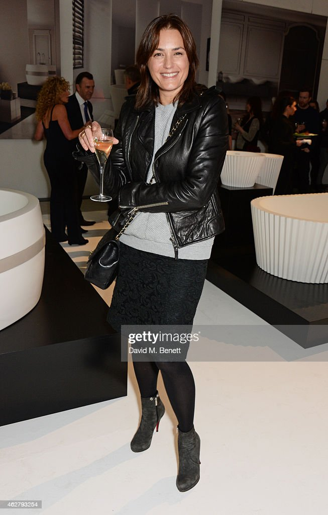 Yasmin Le Bon attends the global unveiling of Kelly Hoppen's new bathware collection with Apaiser at IRIS Studios on February 5 2015 in London England