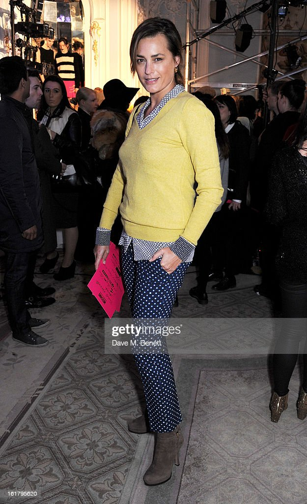 <a gi-track='captionPersonalityLinkClicked' href=/galleries/search?phrase=Yasmin+Le+Bon&family=editorial&specificpeople=161272 ng-click='$event.stopPropagation()'>Yasmin Le Bon</a> attends the Moschino cheap&chic show during London Fashion Week Fall/Winter 2013/14 at The Savoy Hotel on February 16, 2013 in London, England.
