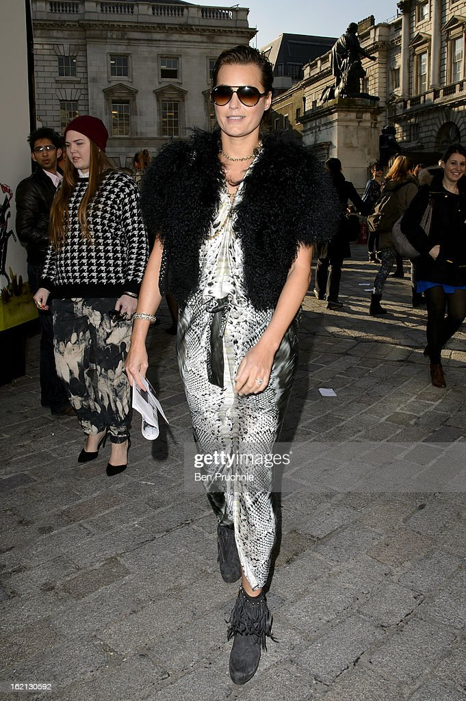 Yasmin Le Bon is pictured arriving at Somerset House during London Fashion Week on February 19, 2013 in London, England.