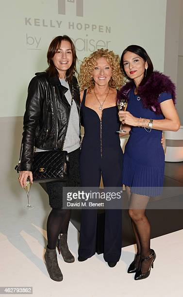 Yasmin Le Bon Kelly Hoppen and Yasmin Mills attend the global unveiling of Kelly Hoppen's new bathware collection with Apaiser at IRIS Studios on...