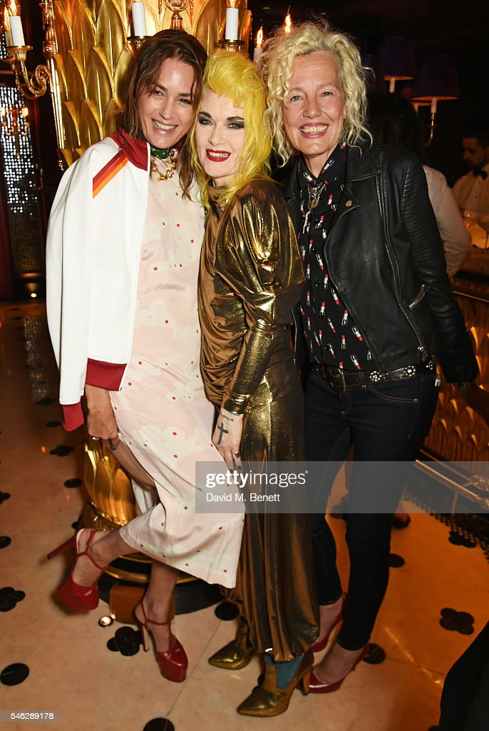 Yasmin Le Bon, Pam Hogg and Ellen von Unwerth pose in Club Chinois at a party to celebrate Pam Hogg's honorary doctorate from Glasgow University in association with Perrier-Jouet on July 11, 2016 in London, England.