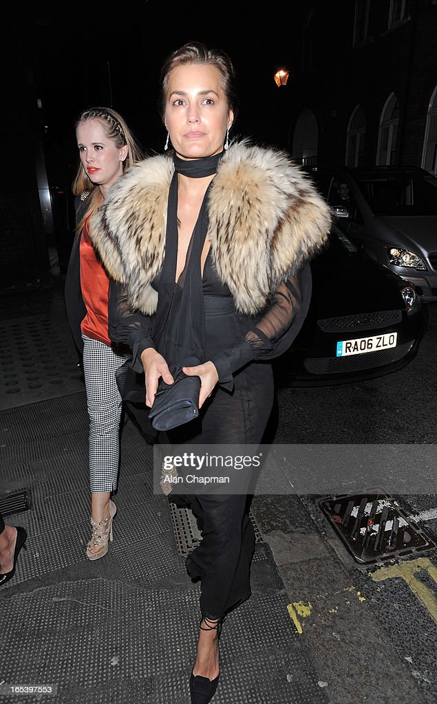 Yasmin le Bon pictured arriving at The Club at The Ivy for the after party following the premiere of Olympus Has Fallen on April 3, 2013 in London, England.