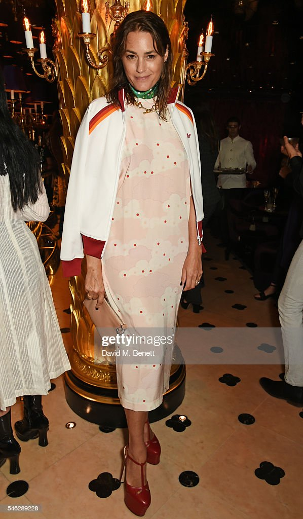 Yasmin Le Bon poses in Club Chinois at a party to celebrate Pam Hogg's honorary doctorate from Glasgow University in association with PerrierJouet on...