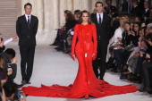 Yasmin Le Bon walks the runway during the Stephane Rolland Spring/Summer 2012 HauteCouture Show as part of Paris Fashion Week at Cite de...