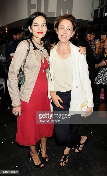Yasmin Mills and Kate Spicer attend the prescreening drinks reception at the premiere of 'Mission To Lars' at Hackney Picturehouse on June 6 2012 in...