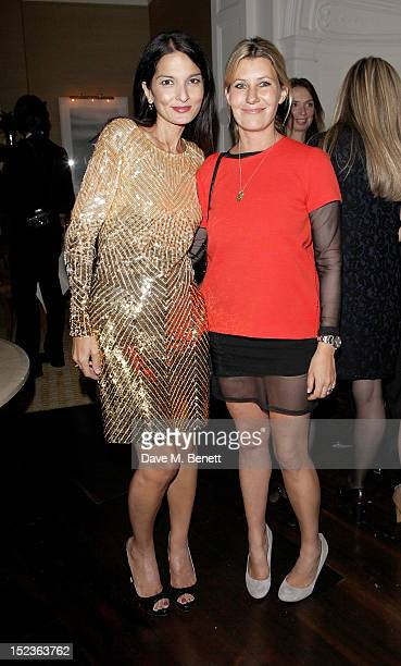 Yasmin Mills and Sara Parker Bowles attend a cocktail party hosted by new EditorinChief of Harper's Bazaar UK Justine Picardie Manolo Blahnik and...