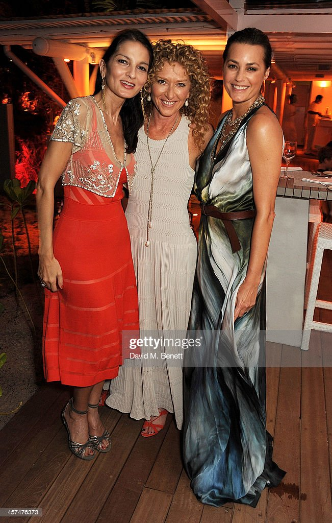 Yasmin Mills, Kelly Hoppen and Yasmin Le Bon attend a private dinner hosted by Kelly Hoppen to celebrate her design of the exclusive resort LUX Belle Mare on December 17, 2013 in Belle Mare, Mauritius.