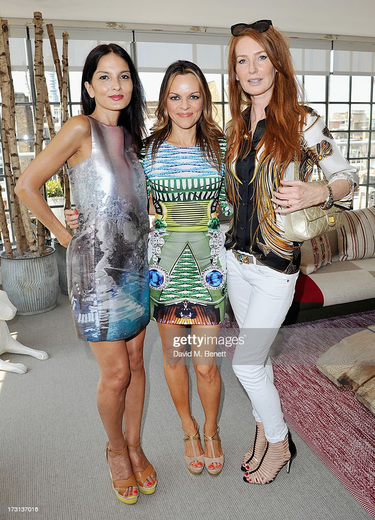Yasmin Mills, Maria Hatzistefanis and Angela Dunn Radcliffe attend Mary Katrantzou for Rodial candle launch party at Soho Hotel on July 8, 2013 in London, England.