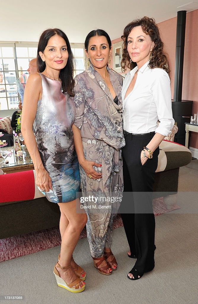 Yasmin Mills, Serena Rees and Marie Helvin attend Mary Katrantzou for Rodial candle launch party at Soho Hotel on July 8, 2013 in London, England.