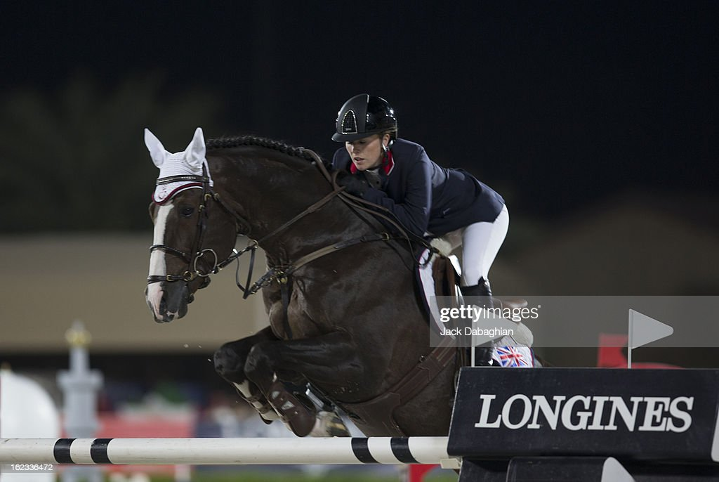 Yasmin Pinchen of Great Britain clears a hurdle on Van de Vivaldi during the President of the UAE Showjumping Cup - Furusyiah Nations Cup Series presented by Longines on February 21, 2013 in Al Ain, United Arab Emirates.