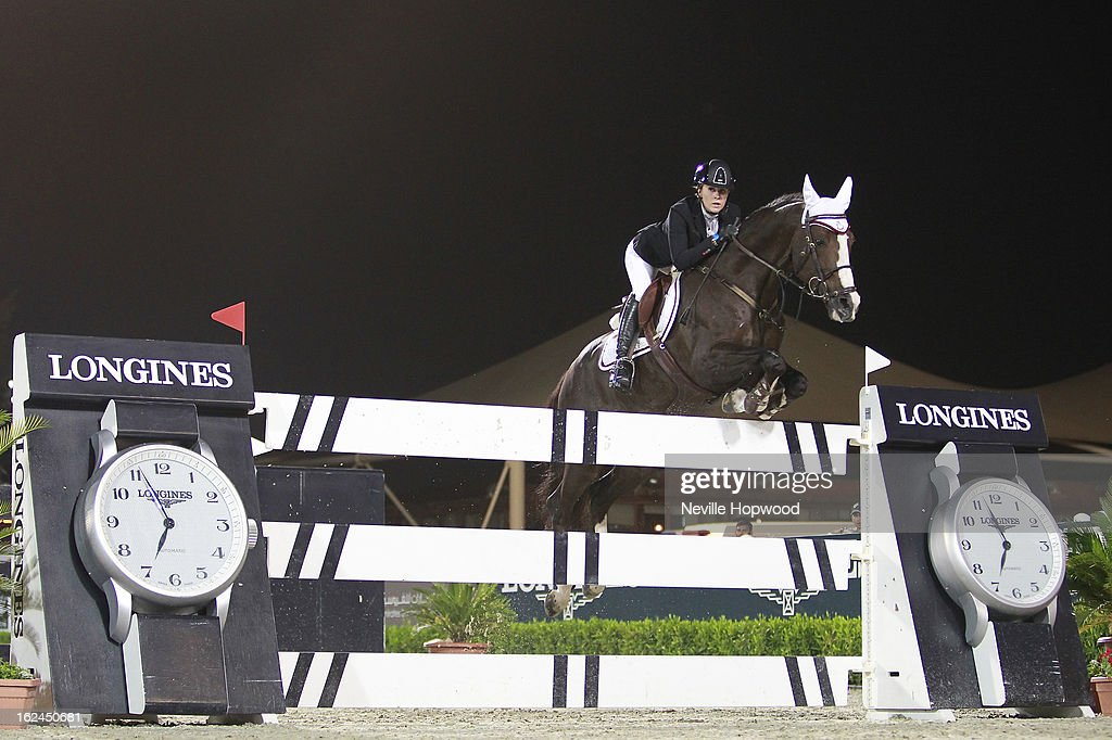 Yasmin Pinchen of Great Britain rides Van De Vivaldi during the President of the UAE Showjumping Cup - Furusiyyah Nations Cup Series presented by Longines on February 23, 2013 in Al Ain, United Arab Emirates.