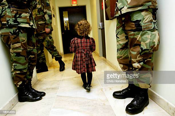 Yasmin Reeves daughter of Sgt Daniel Reeves of Clarkston Washington wanders through a clinic hallway at Incirlik hospital March 7 2003 at Incirlik...