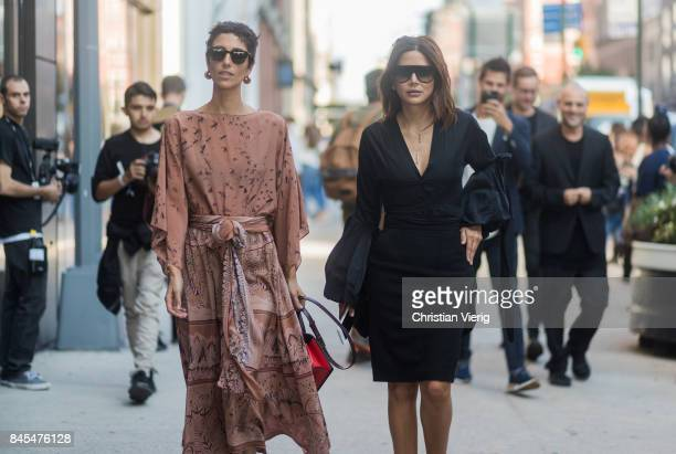 Yasmin Sewell and Christine Centenera seen in the streets of Manhattan outside Diane von Furstenberg during New York Fashion Week on September 10...
