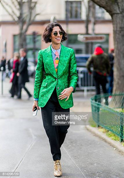Yasmin Sewell wearing a green Gucci blazer and tie outside Giambattista Valli during the Paris Fashion Week Womenswear Fall/Winter 2016/2017 on March...