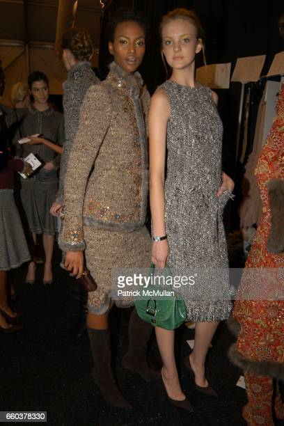 Yasmin Warsame and Caroline Trintini attend Oscar de La Renta Fashion Show at Bryant Park Tents on February 9 2004 in New York City
