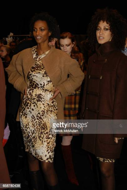 Yasmin Warsame and Pat Cleveland attend Bill Blass Fall 2004 Show at Bryant Park Tents on February 10 2004 in New York City