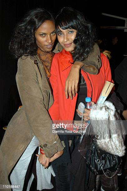 Yasmin Warsame and Ujjwala Raut during Olympus Fashion Week Fall 2004 Tracy Reese Front Row and Backstage at Studio Noir at Bryant Park in New York...