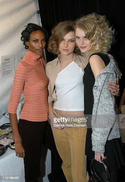 Yasmin Warsame Diana and Sarka during Olympus Fashion Week Fall 2004 Tracy Reese Front Row and Backstage at Studio Noir at Bryant Park in New York...