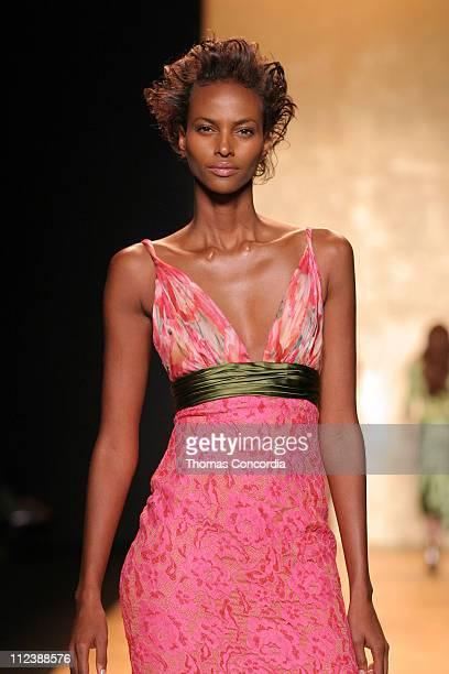 Yasmin Warsame wearing Carmen Marc Valvo Spring 2005