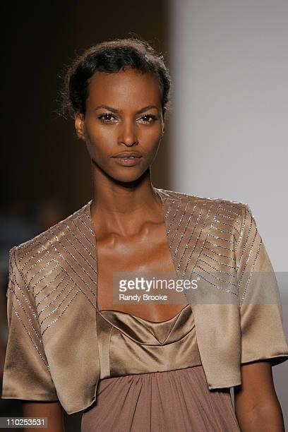 Yasmin Warsame wearing Doori Spring 2006 during Olympus Fashion Week Spring 2006 Doori Runway at Bryant Park in New York City New York United States