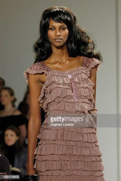 Yasmin Warsame wearing Kai Milla Fall 2005 during Olympus Fashion Week Fall 2005 Kai Milla Front Row and Runway at The Newspace in New York City NY...