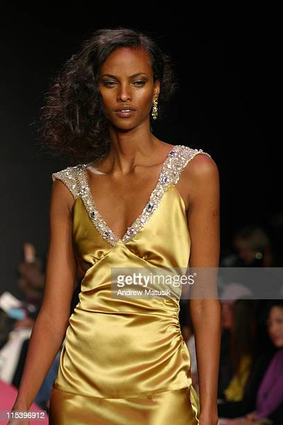 Yasmin Warsame wearing Tracy Reese Fall 2004 during Olympus Fashion Week Fall 2004 Tracy Reese Runway at Studio Noir at Bryant Park in New York City...