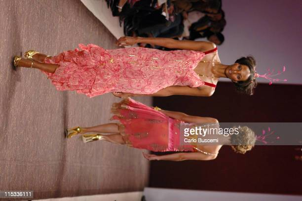 Yasmin Warsame wearing Tracy Reese Fall 2005 during Olympus Fashion Week Fall 2005 Tracy Reese Runway at The Plaza Bryant Park in New York City New...