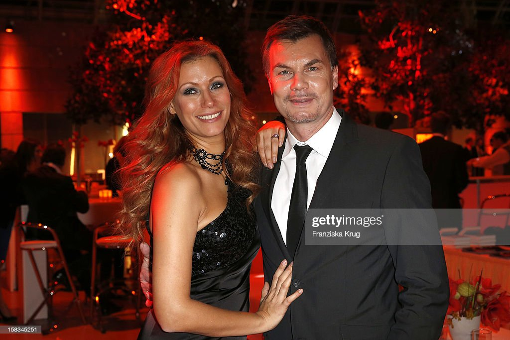 Yasmina Filali and her husband Thomas Helmer attend the 18th Annual Jose Carreras Gala on December 13, 2012 in Leipzig, Germany.