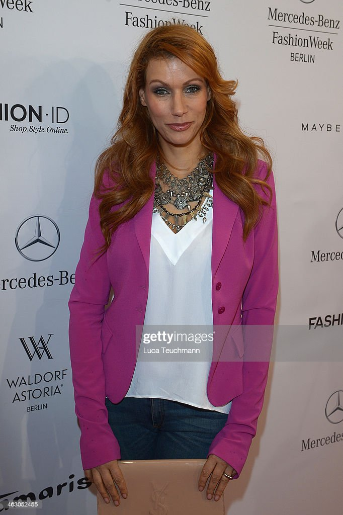 Yasmina Filali arrives for the Guido Maria Kretschmer Show during Mercedes-Benz Fashion Week Autumn/Winter 2014/15 at Brandenburg Gate on January 16, 2014 in Berlin, Germany.