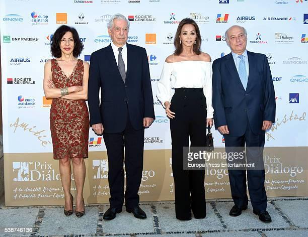 Yasmina Reza Mario Vargas Llosa and Isabel Preysler attend 'Prix del Dialogo' award 2016 at Casa Monico on June 7 2016 in Madrid Spain