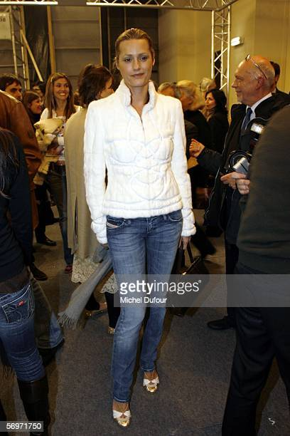 Yasmine Le Bon attends the Loewe fashion show as part of Paris Fashion Week Autumn/Winter 2006/7 March 1 2006 in Paris France