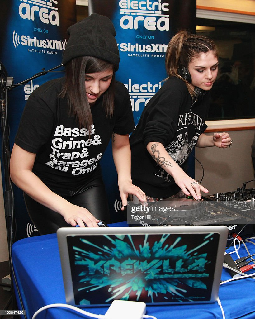 Yasmine Yousaf and Jahan Yousaf of Krewella perform on Electric Area's 'Electric Aquarium' series at SiriusXM studios on February 6, 2013 in New York City.