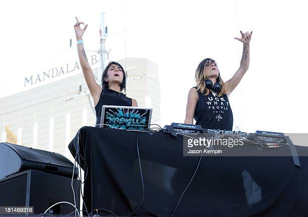 Yasmine Yousaf and Jahan Yousaf of Krewella perform onstage during the iHeartRadio Music Festival Village on September 21 2013 in Las Vegas Nevada