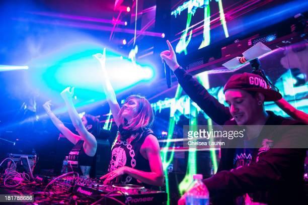 Yasmine Yousaf Jahan Yousaf and producer Kris 'Rain Man' Trindl of Krewella perform at Krewella's 'Get Wet' album release foam party at Exchange LA...