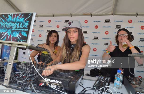 Yasmine Yousaf Jahan Yousaf and Rain Man of Krewella perform live on SiriusXM's 'UMF Radio' at the SiriusXM Music Lounge at W Hotel on March 21 2013...