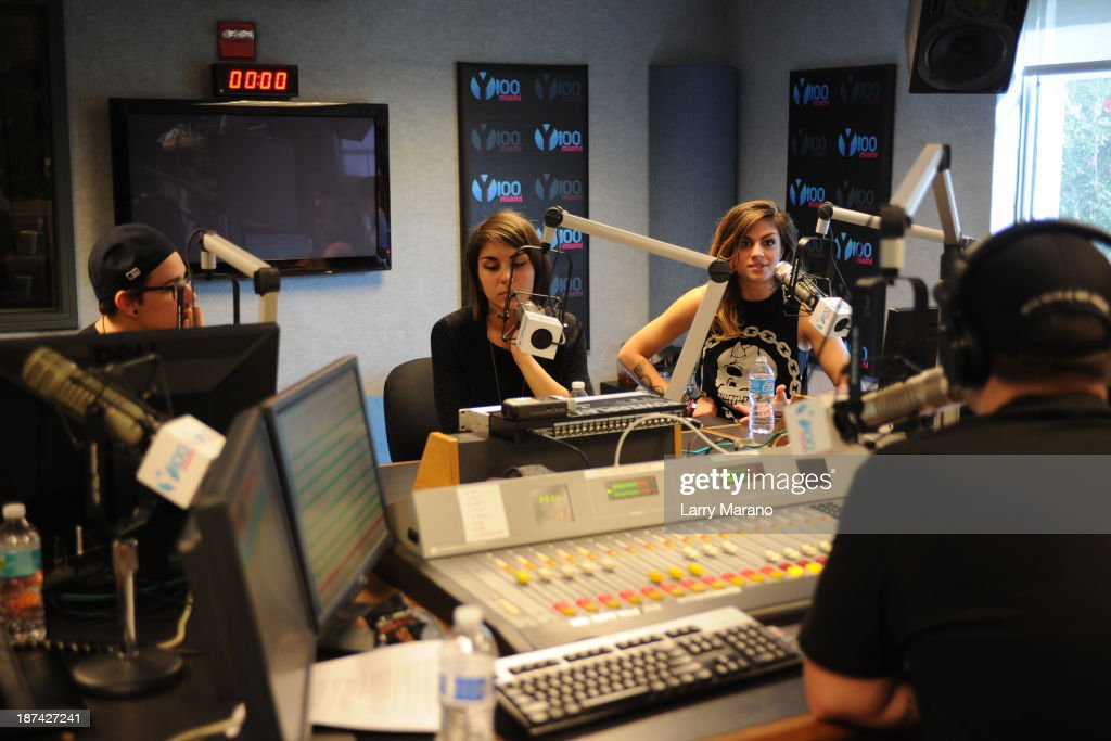 Yasmine Yousaf, Kris Trindl and Jahan Yousaf of Krewella visit Y 100 radio station on November 8, 2013 in Miami, Florida.
