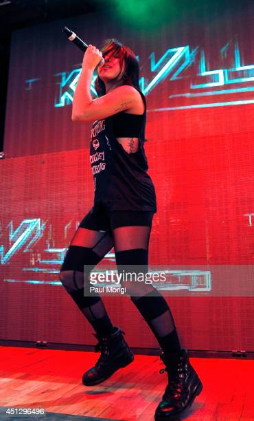Yasmine Yousaf of Krewella performs at The Global Poverty Project's 'THANK YOU FESTIVAL' at Merriweather Post Pavillion on June 26 2014 in Columbia...